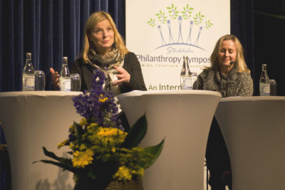 2015-06-04 Stockholm Grand Hotel, Stockholm Filantropy Symposium 2015 Ingrid Stange och Elisabeth McKeon. Foto: Patric LindŽn / Internetfoto